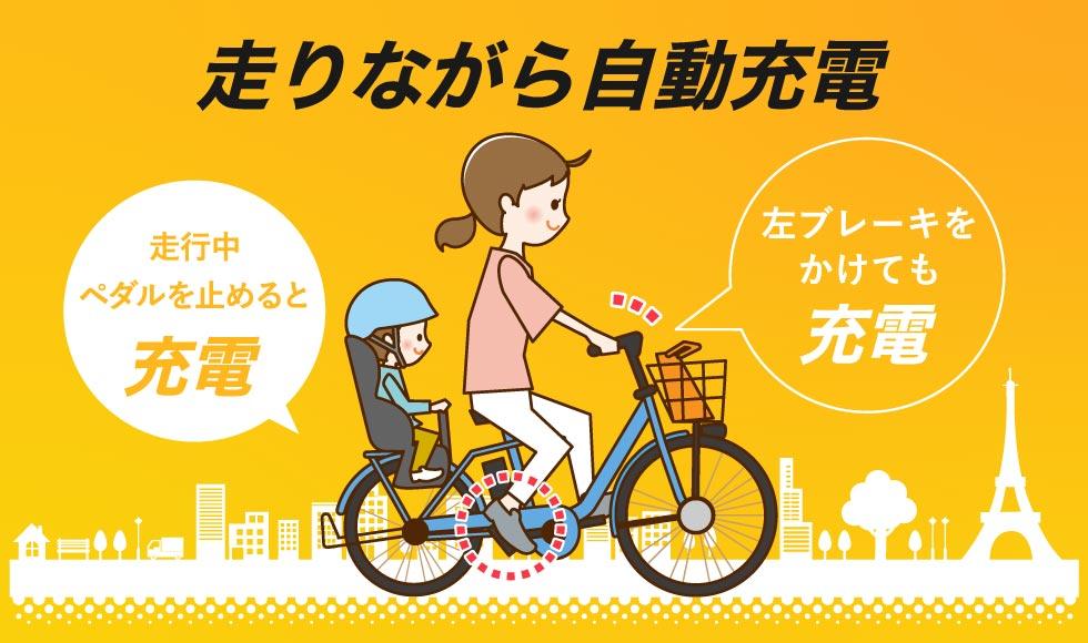 自動充電の電動自転車のイラスト